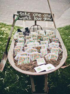 Regalar a los invitados semillas para plantar y presentarlos en una carretilla