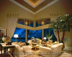 """Living Room of Sater Design's 6921 """"Milano"""" from our luxury home plan collection. #houseplans"""