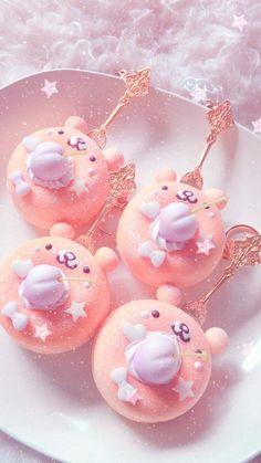 Pink, aesthetic, and donuts image Food Kawaii, Kawaii Dessert, Delicious Donuts, Yummy Food, Kreative Desserts, Food Wallpaper, Wallpaper Wallpapers, Macaron Wallpaper, Cute Baking