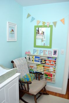 Flag bunting from first birthday party needed a new home. I'd say it's just perfect in the new spot!