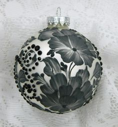 Black and White Hand Painted 3D Roses MUD Ornament by TheMUDLady