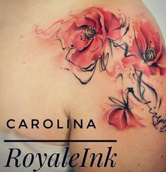 Poppy tattoo watercolor Carolina Avalle