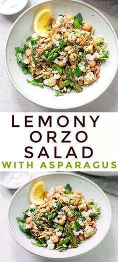 Orzo Salad, Asparagus Salad, Spinach Salad, Fruit Salad, Easy Mediterranean Diet Recipes, Mediterranean Dishes, Savory Salads, Easy Salads, Savoury Dishes