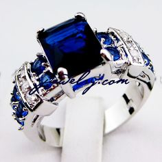 SZ6/7/8/9/10 Gorgeous New lab sapphire 10KT WGF Ring. Starting at $10 on Tophatter.com!