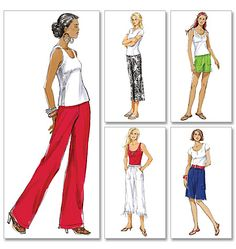 Minimal pattern pieces make these pants really easy to sew. Butterick B5044, Misses' Shorts and Pants