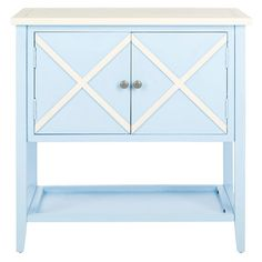 Showcasing a latticework motif and light blue finish, this poplar wood side table features 2 doors and a lower display shelf for stowing extra throws in the ...