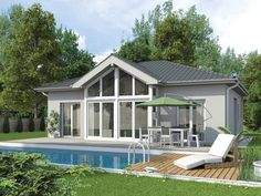 Haus bauen modern walmdach  Solution 100 V3 von Living Haus by Bien-Zenker| Bungalow| Walmdach ...