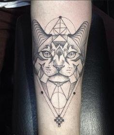 Geometric cat tattoo by Emrah Özhan | Tattoomagz.com