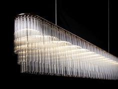 Contemporary chandelier / glass / LED - LINEAR - Tom Kirk Lighting