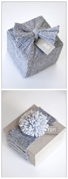 Use old sweaters to wrap a cute package. Here just the sleeve has been used and a strip of the sleeve for the other package. Use  Elmer's glue on the back side edges to keep it from unraveling. Cute idea.