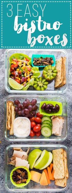 These easy bistro lunch boxes can be prepared ahead of time for an easy grab and go lunch or snack! A great simple meal prep option to mix things up through the week while keeping things easy and healthy! Lunch To Go, Lunch Meal Prep, Healthy Meal Prep, Healthy Snacks, Healthy Eating, Healthy Recipes, Lunch Time, Protein Snacks For Kids, Detox Recipes