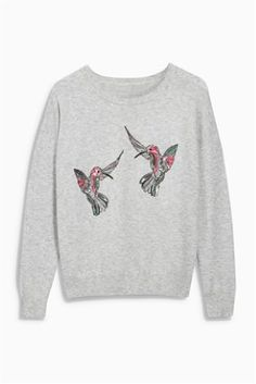 Grey Embellished Hummingbird Sweater