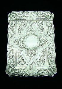 Antique Victorian Sterling Silver Calling Card Case Robert Thornton B Ham 1870