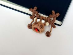 Bookmark deer knitted bookmark Gift for kids Amigurumi Handmade bookmark