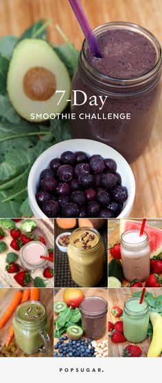 Eat more veggies with this 7-day smoothie challenge. It boosts metabolism, fuels you through the morning, and inspires an all-around healthy lifestyle. Tomorrow morning, try these healthy smoothie recipes!