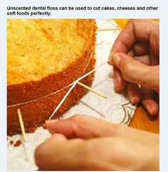 Couper facilement un gâteau avec du fil dentaire. - Easy cake cutting with dental floss