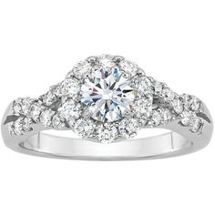 1 ct. tw. Forever Ideal Diamond Engagement Ring in 14K White Gold (74.247.500 IDR) ❤ liked on Polyvore featuring jewelry, rings, white, heart diamond ring, heart shaped diamond ring, white diamond ring, white gold diamond rings and 14k white gold ring