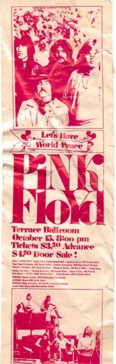 Pink Floyd Salt Lake Terrace Ballroom concert poster