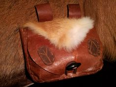 Viking bag pouch leather handmade with runes and rabbit fur