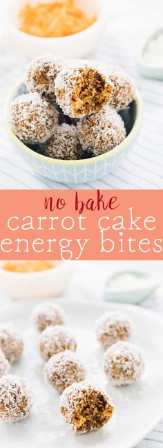 These No Bake Carrot Cake Energy Bites are made with only 5 ingredients, vegan and gluten-free and are a perfect quick healthy breakfast or snack! via http://jessicainthekitchen.com