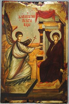 High quality hand-painted icon of The Annunciation. BlessedMart offers Religious icons in old Byzantine, Greek, Russian and Catholic style.