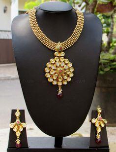 Designer Kundan & Polki Necklace Set – India1001.com