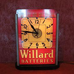 Original WILLARD Batteries Lighted Clock #Willard