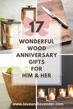 Celebrate your 5th anniversary with a unique wood gift! Weve put together our favorite ideas for him and her to get you started.  #anniversarygifts #anniversarygiftideasforhim #anniversarygiftsforhim #anniversarygiftsforher
