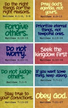 Teachings in Book of Matthew. Great reminders for myself to live out in front of my kids.