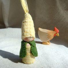 Little Corn Garden Gnome Waldorf inspired Natural Dollhouse Doll Storytelling