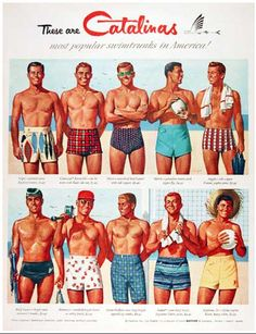 Mens Catalina swim trunks vintage ad
