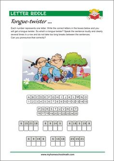 Letter Riddle - Tongue-twister - Printable Worksheet for kids Letter Worksheets, Kindergarten Worksheets, Worksheets For Kids, Printable Worksheets, Learning Numbers, Learning Letters, Tongue Twisters, Pre Writing, Learning Colors