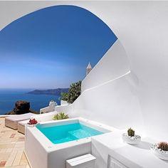 Morning view in Santorini Greece.