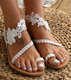 Roman Sandals, Women's Sandals, White Sandals, Dressy Flat Sandals, Pretty Sandals, Gladiator Sandals, Flower Shoes, Mocassins, Beach Shoes