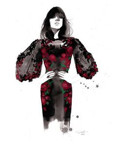 All Rose print from original watercolor and pastel fashion
