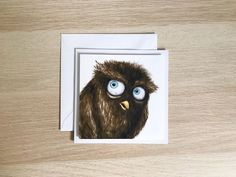 Owl birthday card, owl greeting card, funny birthday card Funny Birthday Cards, White Envelopes, Ann, Greeting Cards, Illustrations, Bird, Creative, Animals, Animales