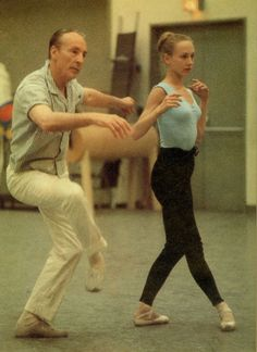 Young Suki Schorer with George Balanchine.  She danced with George Balanchine's New York City Ballet from 1959 to 1972.