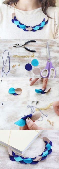 I like this for the shape but as always so many possibilities DIY Necklace diy crafts craft ideas easy crafts diy ideas crafty easy diy diy jewelry craft necklace diy necklace jewelry diy Felt Necklace, Diy Necklace, Circle Necklace, Blue Necklace, Collar Necklace, Beaded Collar, Necklace Holder, Necklaces, Bracelets