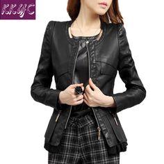 Chaqueta de cuero de las mujeres de primavera y otoño abrigo rojo del o-cuello de LA PU chaquetas de cuero de diseño delgado más el tamaño m-4xl 15