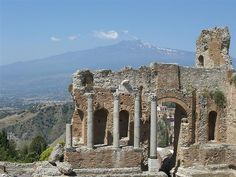 Taormina - Greek Theater with Mt. Etna on the background, Sicily