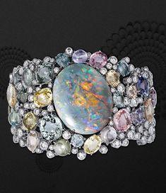 Rouge Cartier - Opale Australe Bracelet - Platinum, one opal 57.95 carats from Austria, colored sapphires, brilliant cut diamonds.