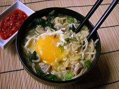 ramen, i love sunny side up eggs in mine too. makes it taste a little rich and creamy