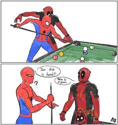 Spider-Man & Deadpool. <3 Marvel Jokes, Marvel Funny, Marvel Dc Comics, Marvel Heroes, Marvel Characters, Funny Comics, Marvel Avengers, Spideypool, Superfamily