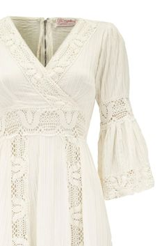 Great s White Cotton Vintage Mexican Wedding Dress