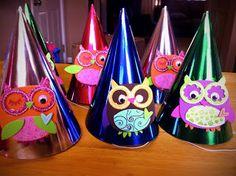 CupcakesandHomeschool: DIY Owl Birthday Hats