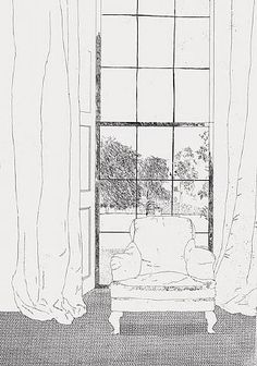 chair & window by David Hockney. Inspiration for sketch a day; day 10 ~ window view