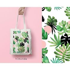 Tote bag / race bag / cotton bag / tropical leaves by HirundoShop Sacs Tote Bags, Diy Tote Bag, Canvas Tote Bags, Painted Bags, Hand Painted, Ideias Diy, Tote Pattern, Reusable Bags, Cotton Bag