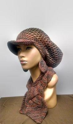 86d04511485 CUSTOM LISTON FOR Msjaneal Crochet Earth Tones by ScarFanatic Slouch Hat  Crochet Pattern