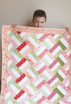 Baby Basket Quilt by Woodberry Way, free easy quilt pattern, Summer Blush by Riley Blake, pink and green quilt Strip Quilt Patterns, Jelly Roll Quilt Patterns, Beginner Quilt Patterns, Strip Quilts, Quilting Patterns, Easy Baby Quilt Patterns, Quilt Blocks Easy, Baby Quilt Tutorials, Patchwork Quilt Patterns