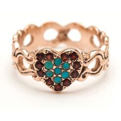 Roseark - Shop by Product: Turquoise and Garnet Heart Ring